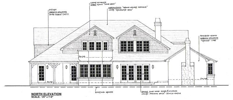 Exterior English Cottage Drawing